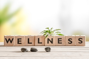 Wellness spelled out in blocks