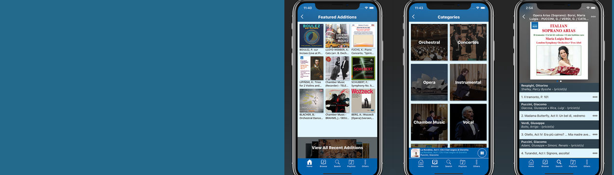 Screen shots of the Naxos Music Library app