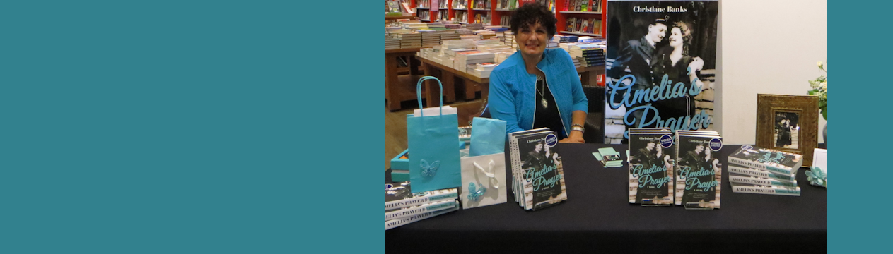 Author Christiane Banks at book signing for the book Amelia's Prayer