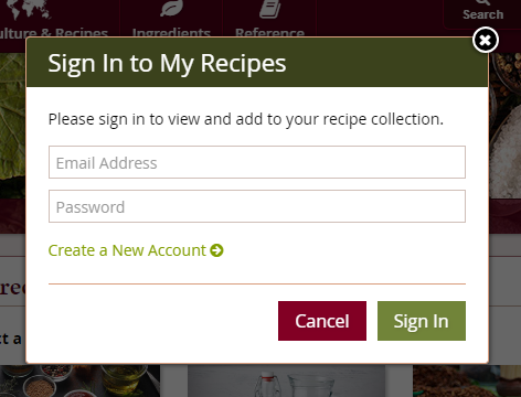 My Recipes sign up screen