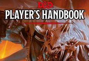 Close up of Dungeons and Dragons Players Handbook with title and monster