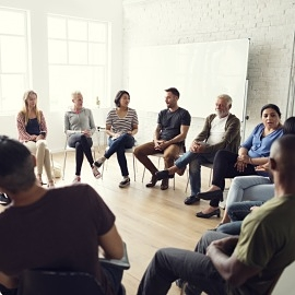 Diverse group chatting